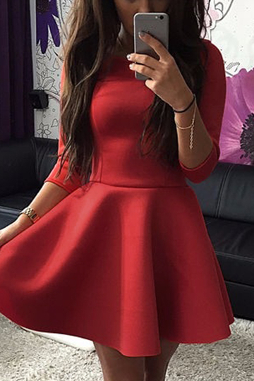 Red Ladies Style Tight-waist Mini Dress