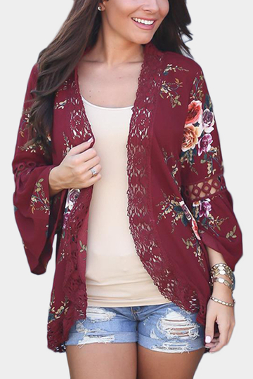 Red Random Floral Print Lace Detail Bell Shoulder Cardigans