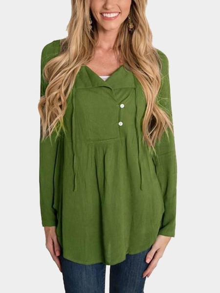 Green Self-tie & Button Design V-neck Curved Hem Long Sleeves Blouse