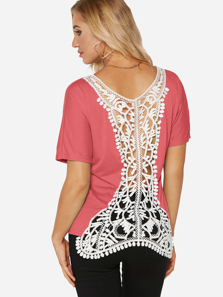 Red Lace Details Round Neck Short Sleeves T-shirt