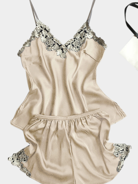 Champagne Pajamas Suit With Imitation Silk Material