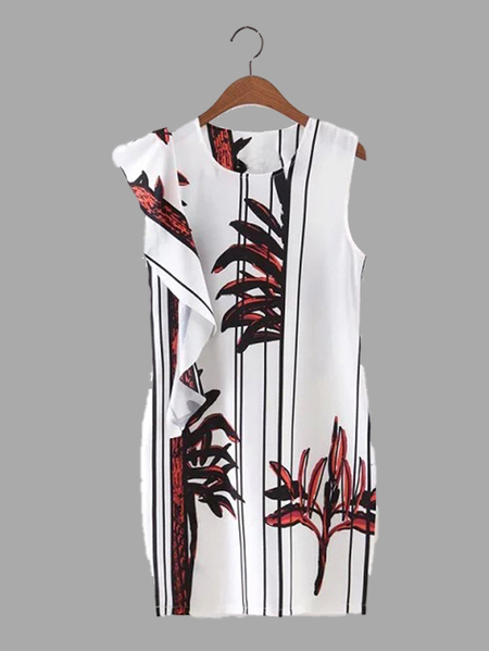 Bamboo-Leaves Print Sleeveless Mini Dress with Flouncy Details