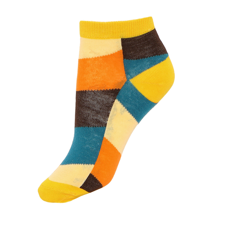 Colorblock Ribbed Ankle Socks with Yellow Cuffs