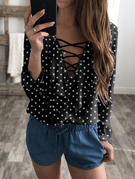 Black Wave Point Lace-up V-neck Long Sleeves Chiffon Blouse