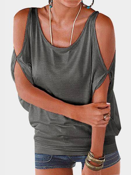 Grey Scoop Neck Cold Shoulder Tie-up at Back Tee