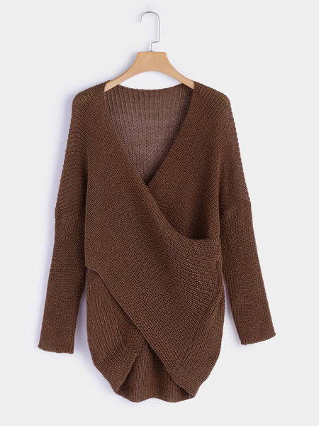 Brown V-neck Long Sleeves Crossed Front Design Sweater