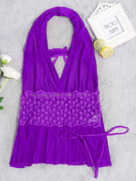 Purple Sexy Halter Design Lace Detail Pajamas