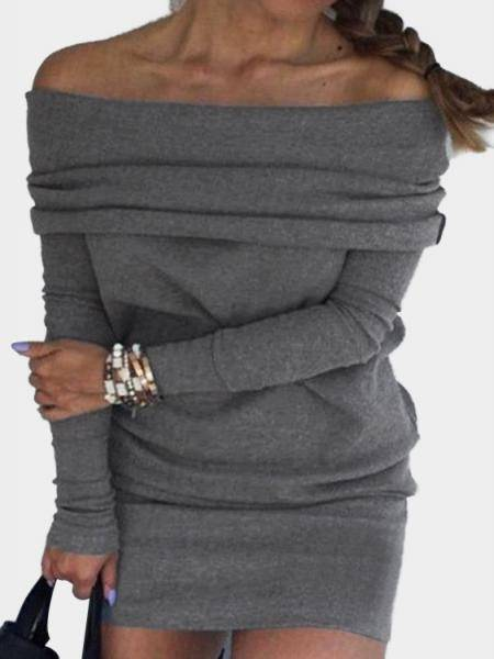 Grey Off-shoulder Wide Over-layer Dress