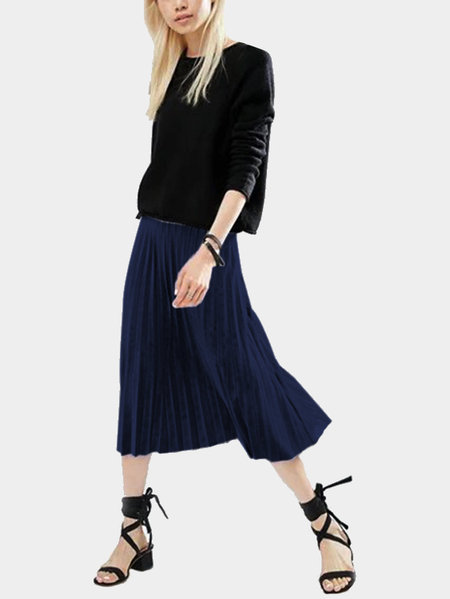 Navy Blue Velvet High-waisted Pleated Design Midi Skirt