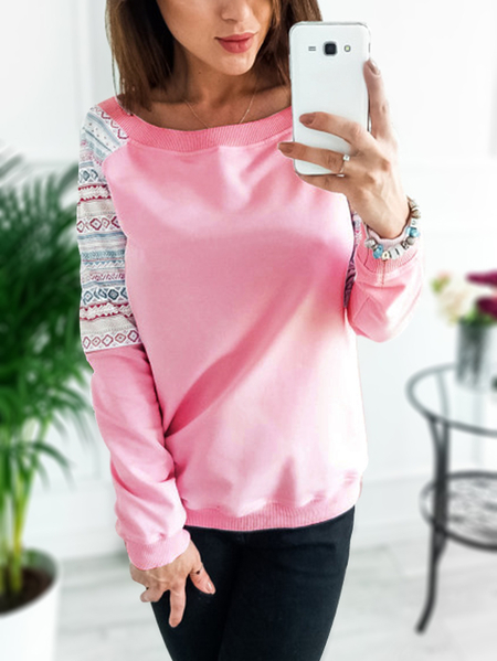 Pink Scoop Neck Raglan Sleeves Floral Print T-shirts