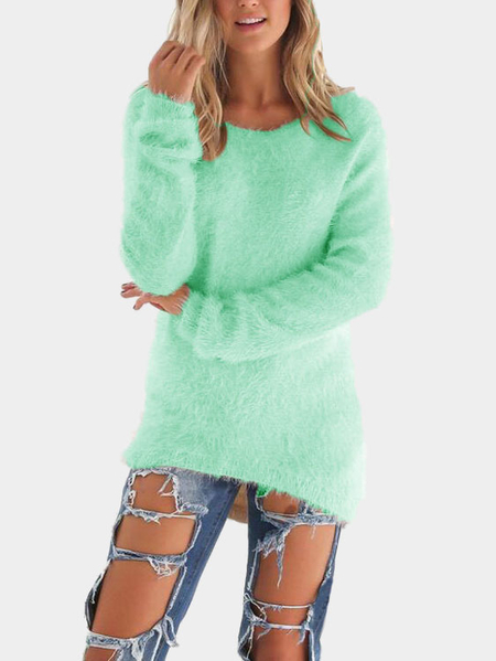 Green Round Neck Long Sleeves Sweater Top