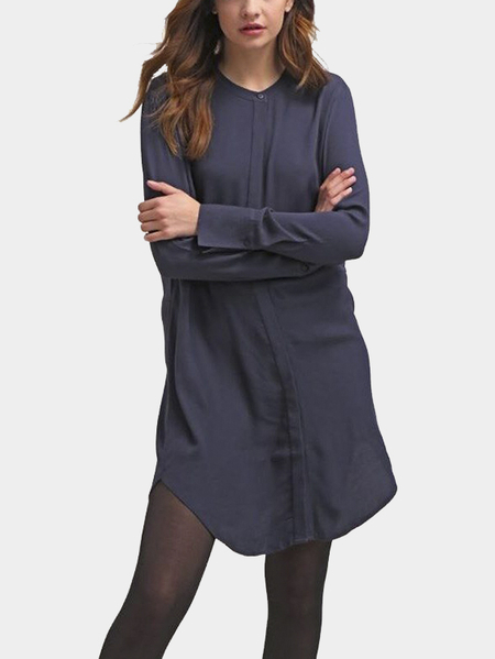 See through Blue Fashion Round Collar Curve Hem Shirt
