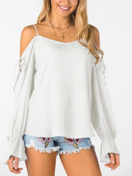 White V-neck Cold Shoulder Lace-up Chiffon Blouse