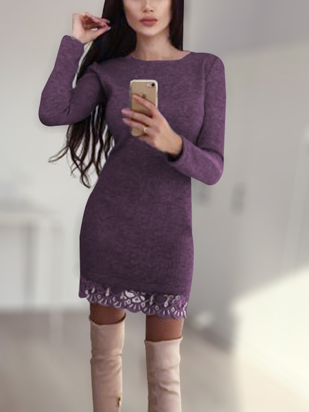 Purple Round Neck Long Sleeves Lace Hem Mini Dresses