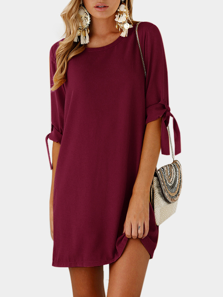 Burgundy Self-tie at Sleeves Mini Dress
