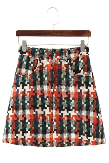 Camo Woolen Mini Skirt