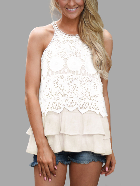 White Sexy Sleeveless Lace Details Top