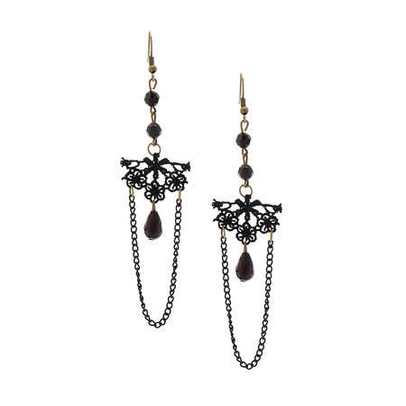 Black Vintage Lace Drop Earrings
