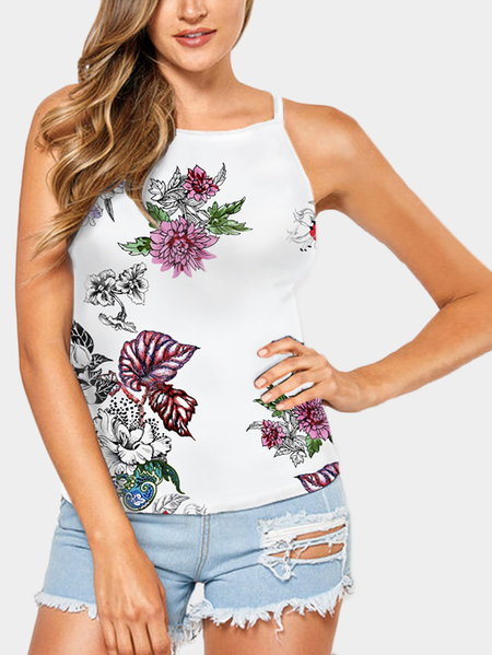 Random Floral Print Cami With Round Neck In White