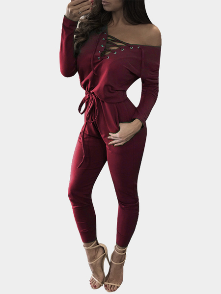 Red Deep V-neck Lace-up Front Design Jumpsuit