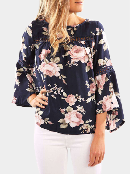 Floral Print Hollow Out Bell Sleeves Blouses