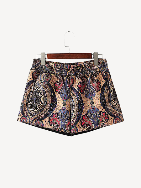 Folk Style Printed Suedette Shorts