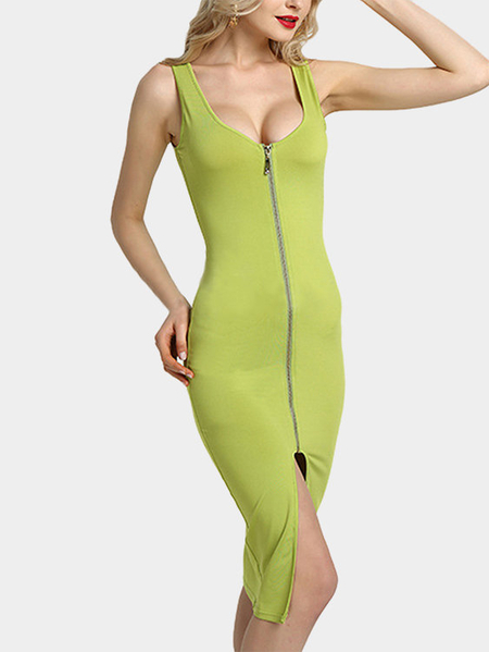 Green Fashion Round Neck Zip Front Bodycon Cami Dress