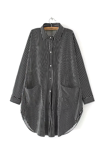 Black Oversized Stripe Shirt with Classic Collar