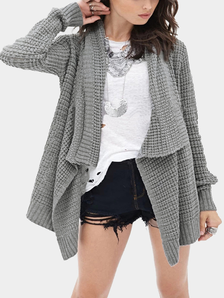 Grey Loose Hollow Out Irregular Hem Knit Cardigan
