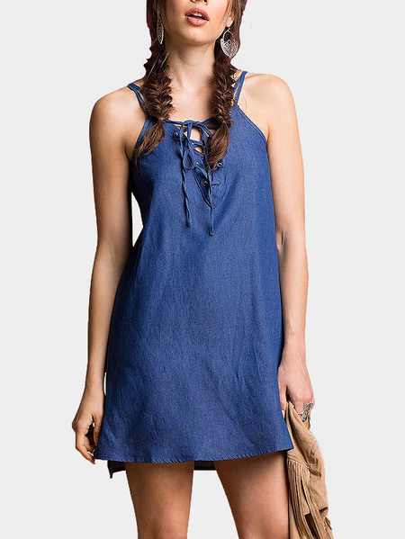 Dark Blue Lace-up Cami Dress