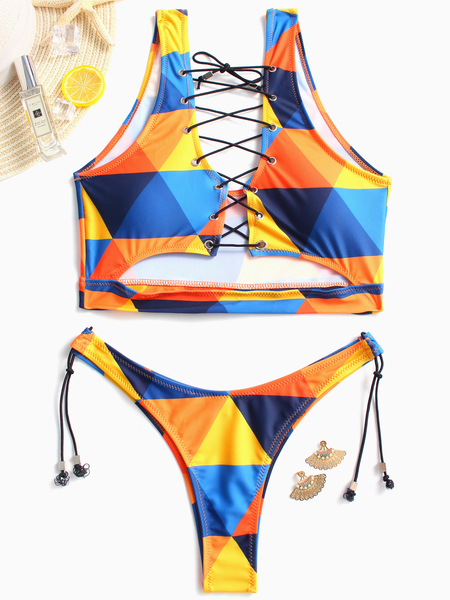 Blue Elastic Strap Floral Print Scoop Neck  Lace Up Design Swimwear