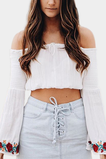 White Random Floral Print Off the Shoulder Long Bell Sleeves Crop Top