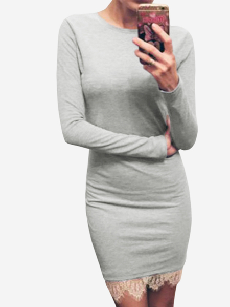 Ligth Grey Lace Splice Slim Fit Long Sleeve Dress