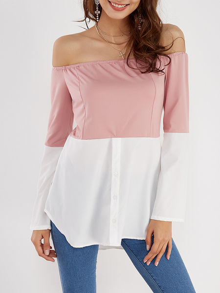 Pink & White Off Shoulder Long Sleeves T-shirt