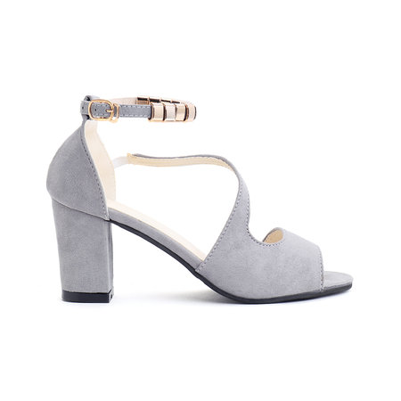 Grey Chunky Heel Sandals with Ankle Strap