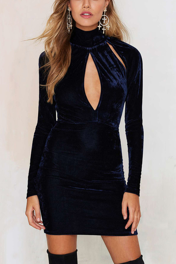 High Neck Cut Out mini Dress in Navy