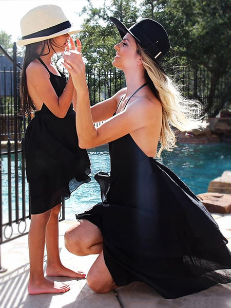Mommy and Me Black Flounced Hem Sleeveless Matching Dress