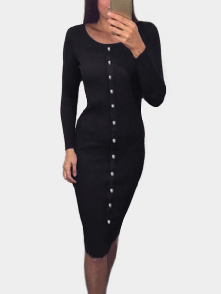 Black Fake Buttons Long Sleeves Midi Dresses