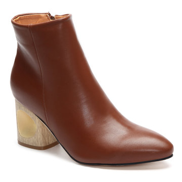 Brown Hollow Chunky Heels Botas curtas com Zipper Side