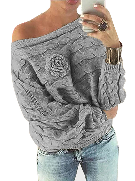 Light Grey Off Shoulder Dolman Sleeve Random Floral Sweater