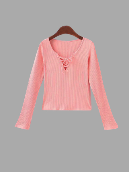 Pink Lace-up Long Sleeves Top