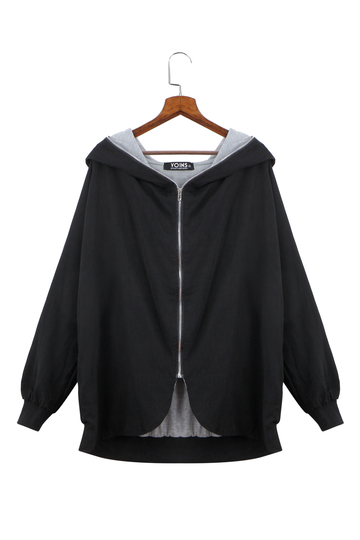 Plus Size Black Hooded Coat with Zipper Front