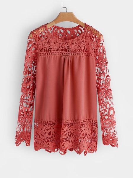 Red See-through Lace Round Neck Long Sleeves Top