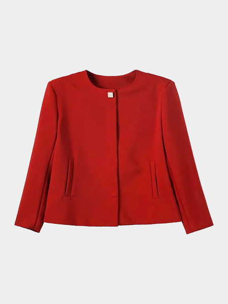 Crepe Blazer in Red