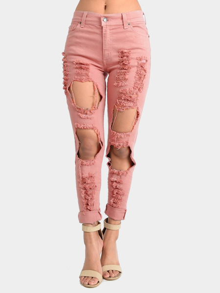 Pink Boyfriend Denim Alta cintura Shredded Rips Jeans