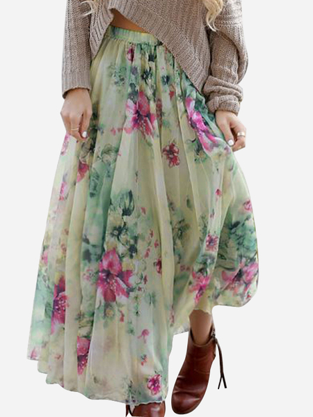 Random Floral Print High Waist Pleated Skirt