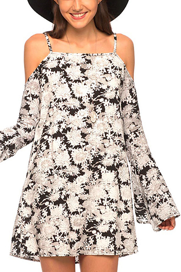 All Over Flower Print Off-shoulder Chiffon Dress