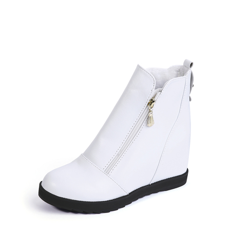 White Hidden Elevator Zip-Design Ankle Boots