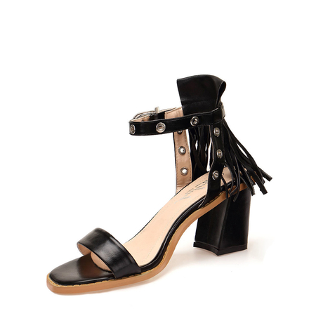 Black Fringed Ankle Strap Heeled Sandals