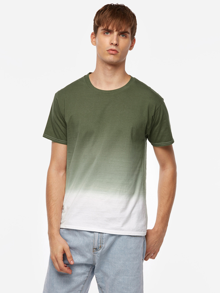 Army Green And White Crew Neck Short Sleeve Dye Men's T-Shirt